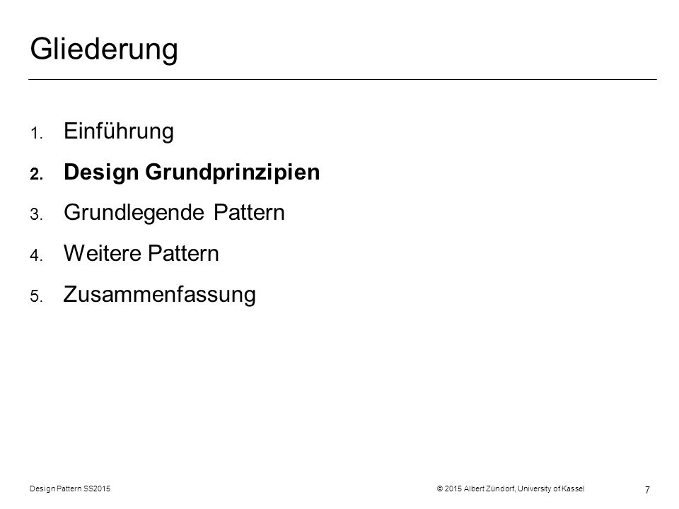 Design Pattern SS2015 © 2015 Albert Zündorf, University of Kassel 58 Struktur Verhalten Daten :Drive usedSpace = 38 write ( aaaa ) class SpaceUpdater { … void propertyChange (obj,attrName,oldVal,newVal) { Dir parent = obj.getParent(); while (parent != null) { parent.usedSpace += newVal – oldVal; parent = parent.getParent(); } } … } :File size = 23 :File size = 15 :SpaceUpdater SpaceUpdater propertyChange (obj, attrName, oldVal, newVal) File size :Integer write(bytes[]) listeners n Listener propertyChange (obj, attrName, oldVal, newVal) Computer Dir usedSpace :Integer files parent n 1 Drive :Dir usedSpace = 38 :Dir usedSpace = 38 :Computer usedSpace = 38