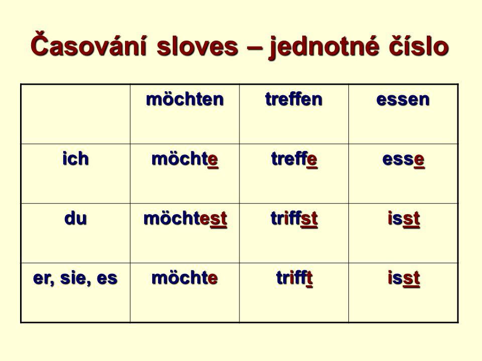 möchtentreffenessen ich möchte treffe esse du möchtest triffst isst er, sie, es möchte trifft isst Časování sloves – jednotné číslo