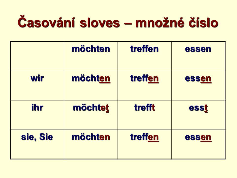 möchtentreffenessen wir möchten treffen essen ihr möchtet trefft esst sie, Sie möchten treffen essen Časování sloves – množné číslo