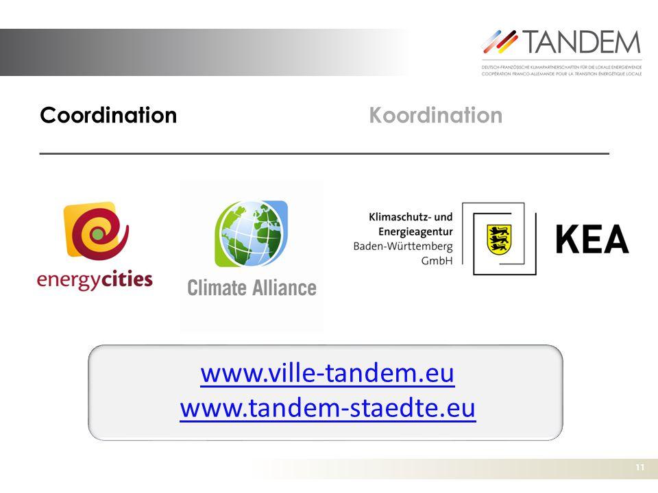 11 CoordinationKoordination www.ville-tandem.eu www.tandem-staedte.eu