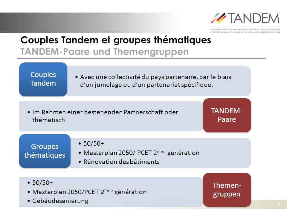 6 Couples Tandem et groupes thématiques TANDEM-Paare und Themengruppen Les partena riats Avec une collectivité du pays partenaire, par le biais d'un jumelage ou d'un partenariat spécifique.