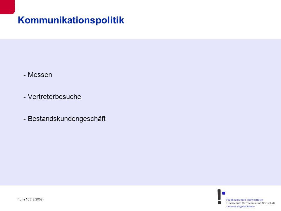 Folie 15 (12/2002) Kommunikationspolitik - Messen - Vertreterbesuche - Bestandskundengeschäft
