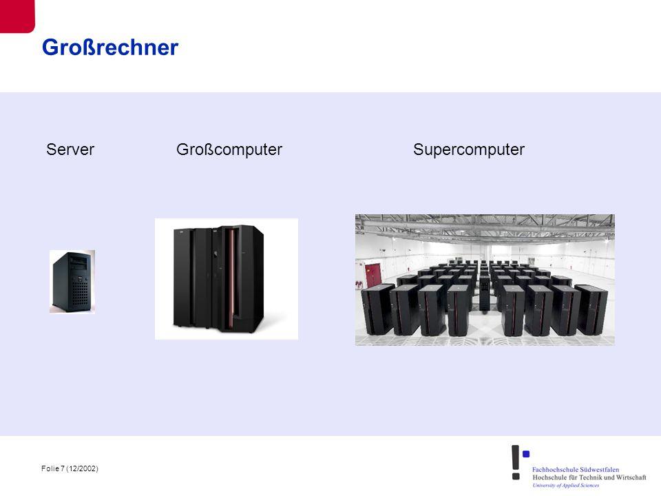 Folie 8 (12/2002) Marktsituation - stagnierender/ schrumpfender Markt - Analysten prognostizieren aussterben der Großrechner - fünf bedeutende Anbieter - Fujitsu-Siemens - Hitachi - IBM - NEC - Sun - IBM größter Anbieter mit fast 2/3 Marktanteil