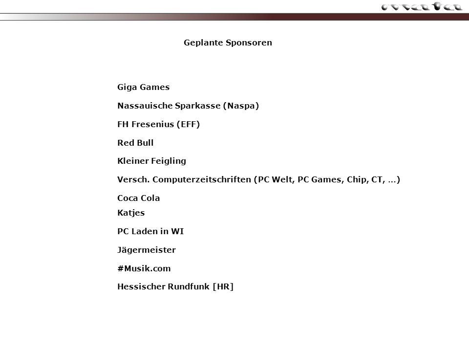Geplante Sponsoren Giga Games Nassauische Sparkasse (Naspa) FH Fresenius (EFF) Red Bull Kleiner Feigling Versch.