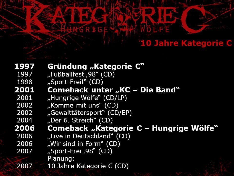 "10 Jahre Kategorie C Gründung ""Kategorie C"" ""Fußballfest '98"" (CD) ""Sport-Frei!"" (CD) Comeback unter ""KC – Die Band"" ""Hungrige Wölfe"" (CD/LP) ""Komme m"