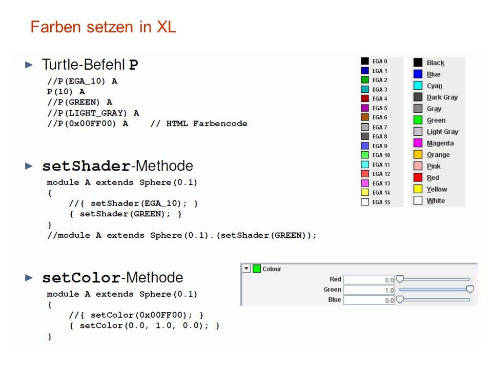 Farben setzen in XL