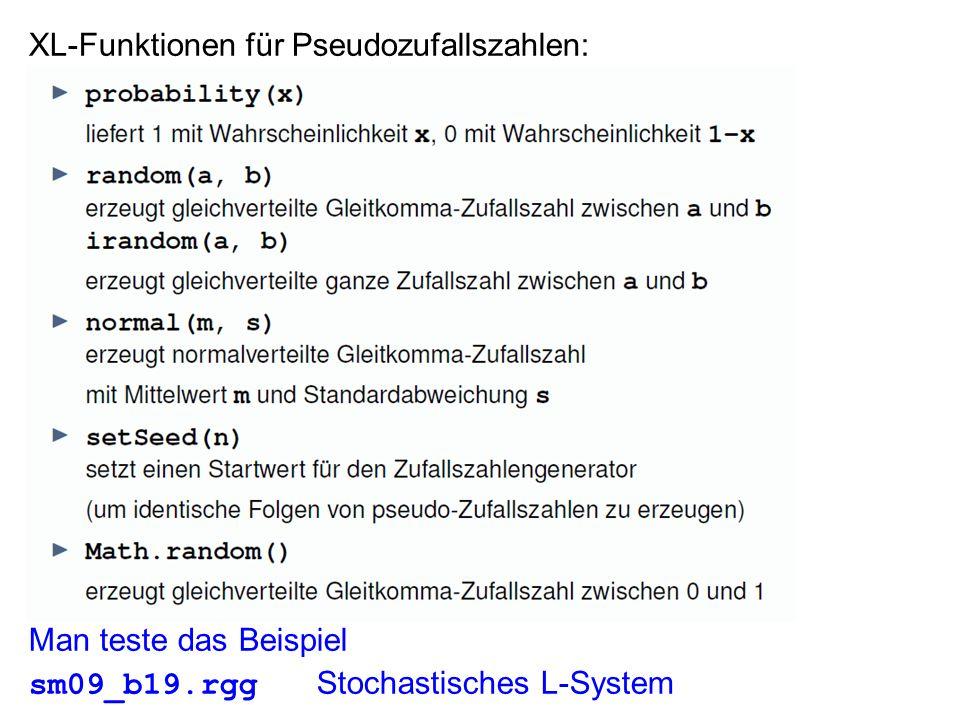 XL-Funktionen für Pseudozufallszahlen: Man teste das Beispiel sm09_b19.rgg Stochastisches L-System