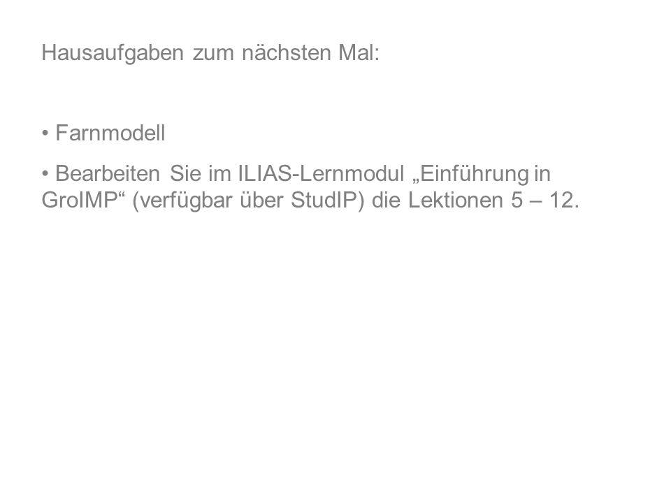 """Hausaufgaben zum nächsten Mal: Farnmodell Bearbeiten Sie im ILIAS-Lernmodul """"Einführung in GroIMP (verfügbar über StudIP) die Lektionen 5 – 12."""