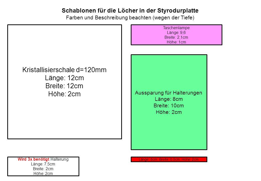 Kristallisierschale d=120mm Länge: 12cm Breite: 12cm Höhe: 2cm Taschenlampe Länge: 9,6 Breite: 2,1cm Höhe: 1cm Aussparung für Halterungen Länge: 8cm Breite: 10cm Höhe: 2cm Wird 3x benötigt Halterung Länge: 7,5cm Breite: 2cm Höhe: 2cm Länge: 8cm; Breite: 0,5cm; Höhe: 2cm Schablonen für die Löcher in der Styrodurplatte Farben und Beschreibung beachten (wegen der Tiefe)