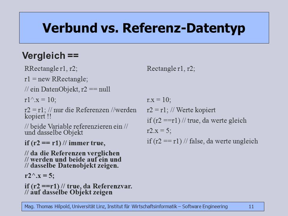 Mag. Thomas Hilpold, Universität Linz, Institut für Wirtschaftsinformatik – Software Engineering 11 Verbund vs. Referenz-Datentyp Vergleich == RRectan