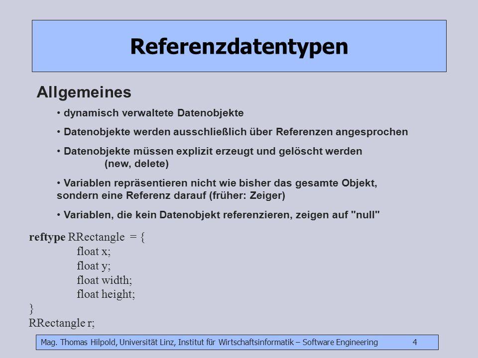 Mag. Thomas Hilpold, Universität Linz, Institut für Wirtschaftsinformatik – Software Engineering 4 Referenzdatentypen Allgemeines dynamisch verwaltete