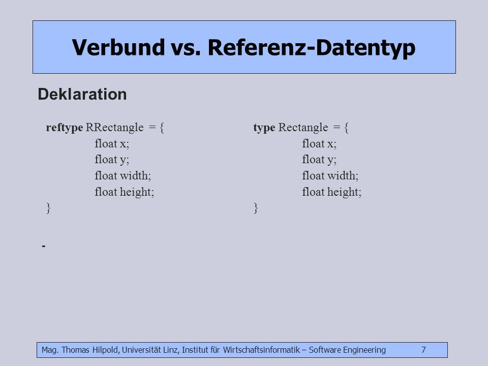 Mag. Thomas Hilpold, Universität Linz, Institut für Wirtschaftsinformatik – Software Engineering 7 Verbund vs. Referenz-Datentyp Deklaration reftype R