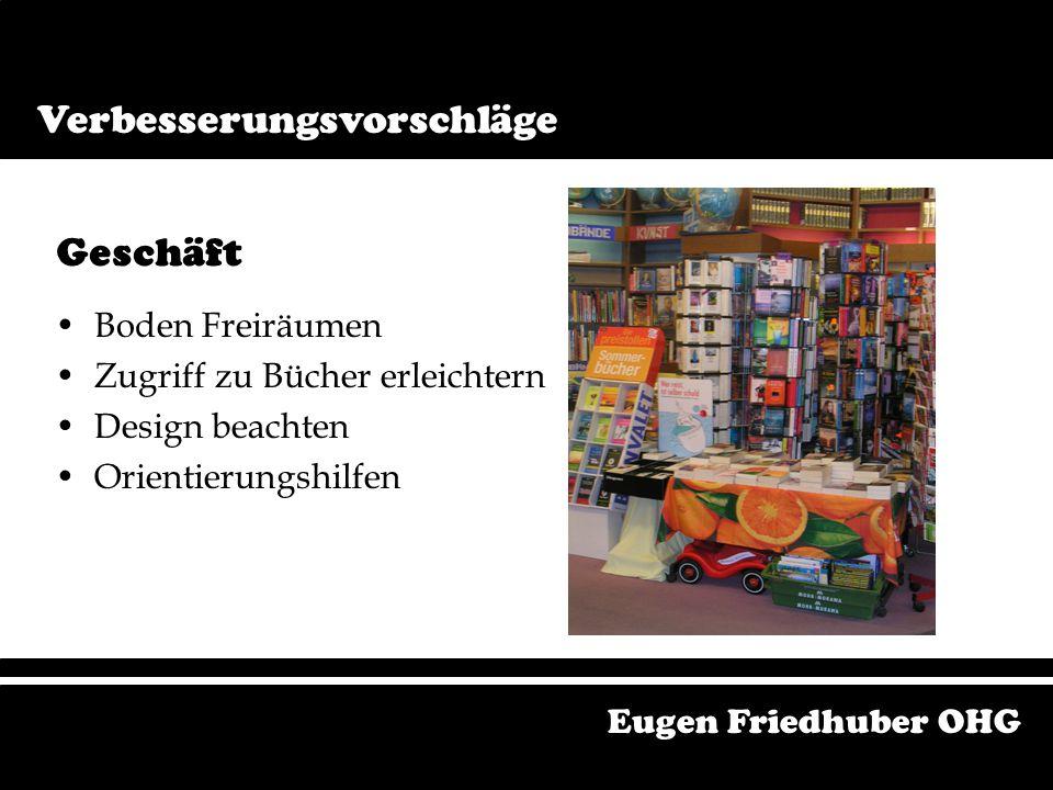 Bereiche Geschäft Schaufenster Antiquariat Corporate Identity Verwendung der Kundendatei Eugen Friedhuber OHG Verbesserungsvorschläge Verbesserungsvor