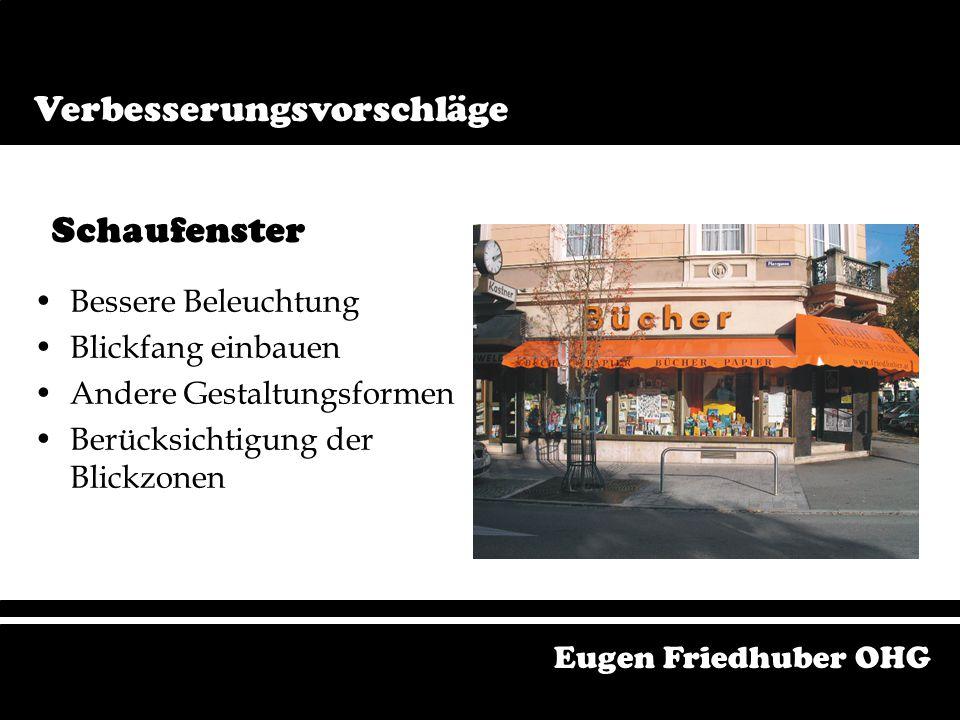 Geschäftsräumlichkeiten Boden Freiräumen Zugriff zu Bücher erleichtern Design beachten Orientierungshilfen Eugen Friedhuber OHG Verbesserungsvorschläg