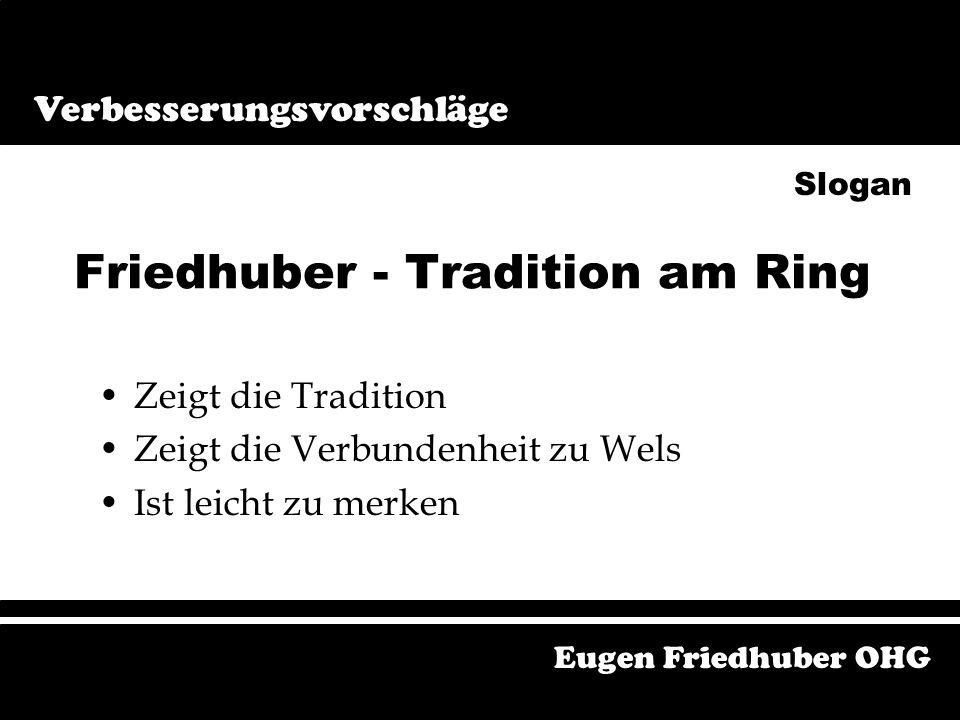 Bei Friedhuber bucht´s Eugen Friedhuber OHG Verbesserungsvorschläge Bei Friedhuber bucht's Slogan