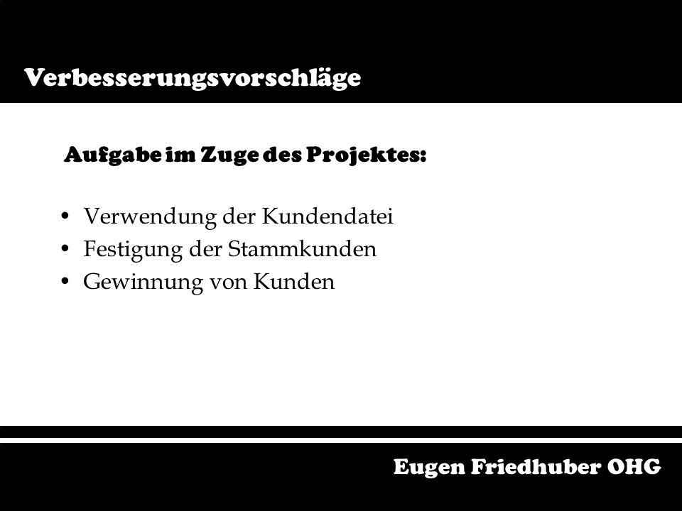 Logo Soll Schlicht aber doch auffällig Zeitlos Einprägsam Hoher Wiedererkennungswert Eugen Friedhuber OHG Verbesserungsvorschläge Logo