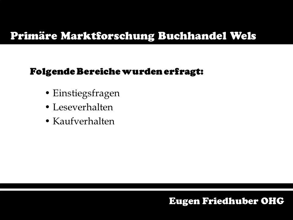Primäre Marktforschung Buchmarkt Wels Einstiegsfragen Leseverhalten Kaufverhalten Folgende Bereiche wurden erfragt: Eugen Friedhuber OHG Primäre Marktforschung Buchhandel Wels