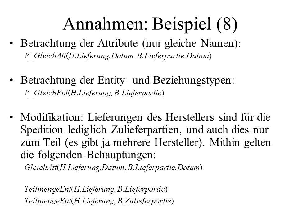 Annahmen: Beispiel (8) Betrachtung der Attribute (nur gleiche Namen): V_GleichAtt(H.Lieferung.Datum, B.Lieferpartie.Datum) Betrachtung der Entity- und