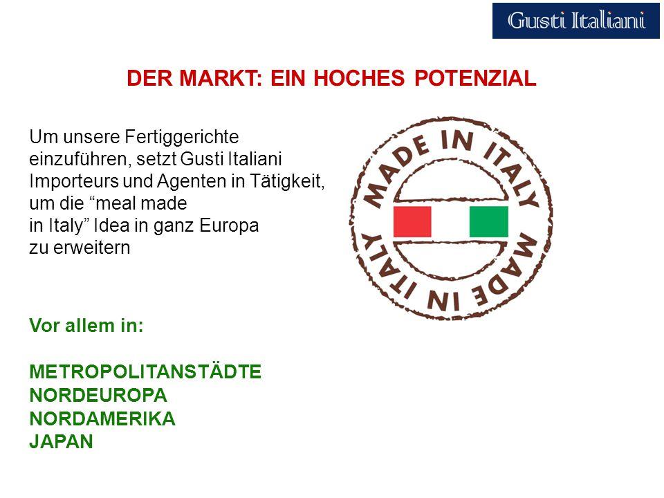 DER MARKT: EIN HOCHES POTENZIAL Vor allem in: METROPOLITANSTÄDTE NORDEUROPA NORDAMERIKA JAPAN Um unsere Fertiggerichte einzuführen, setzt Gusti Italiani Importeurs und Agenten in Tätigkeit, um die meal made in Italy Idea in ganz Europa zu erweitern