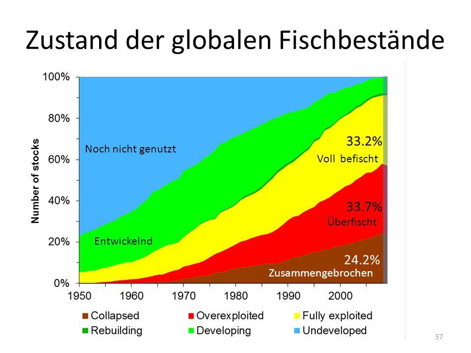 Zustand der globalen Fischbestände 57 Neue Bestände Zusammengebrochen Noch nicht genutzt Entwickelnd Voll befischt Überfischt Zusammengebrochen