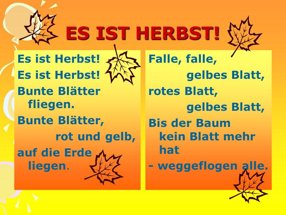 ES IST HERBST! Es ist Herbst! Bunte Blätter fliegen. Bunte Blätter, rot und gelb, auf die Erde liegen. Falle, falle, gelbes Blatt, rotes Blatt, gelbes