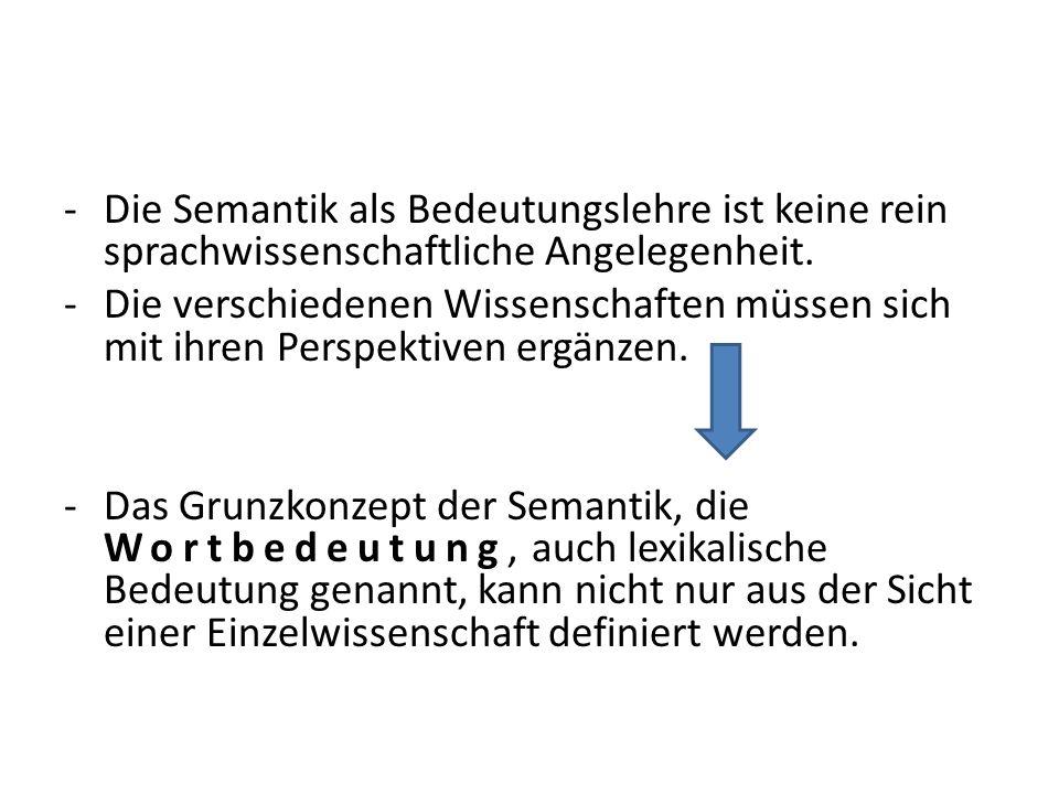-Die Semantik als Bedeutungslehre ist keine rein sprachwissenschaftliche Angelegenheit. -Die verschiedenen Wissenschaften müssen sich mit ihren Perspe