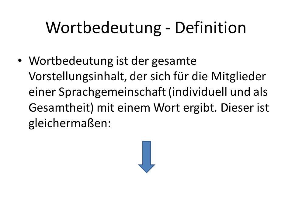 Wortbedeutung - Definition Wortbedeutung ist der gesamte Vorstellungsinhalt, der sich für die Mitglieder einer Sprachgemeinschaft (individuell und als