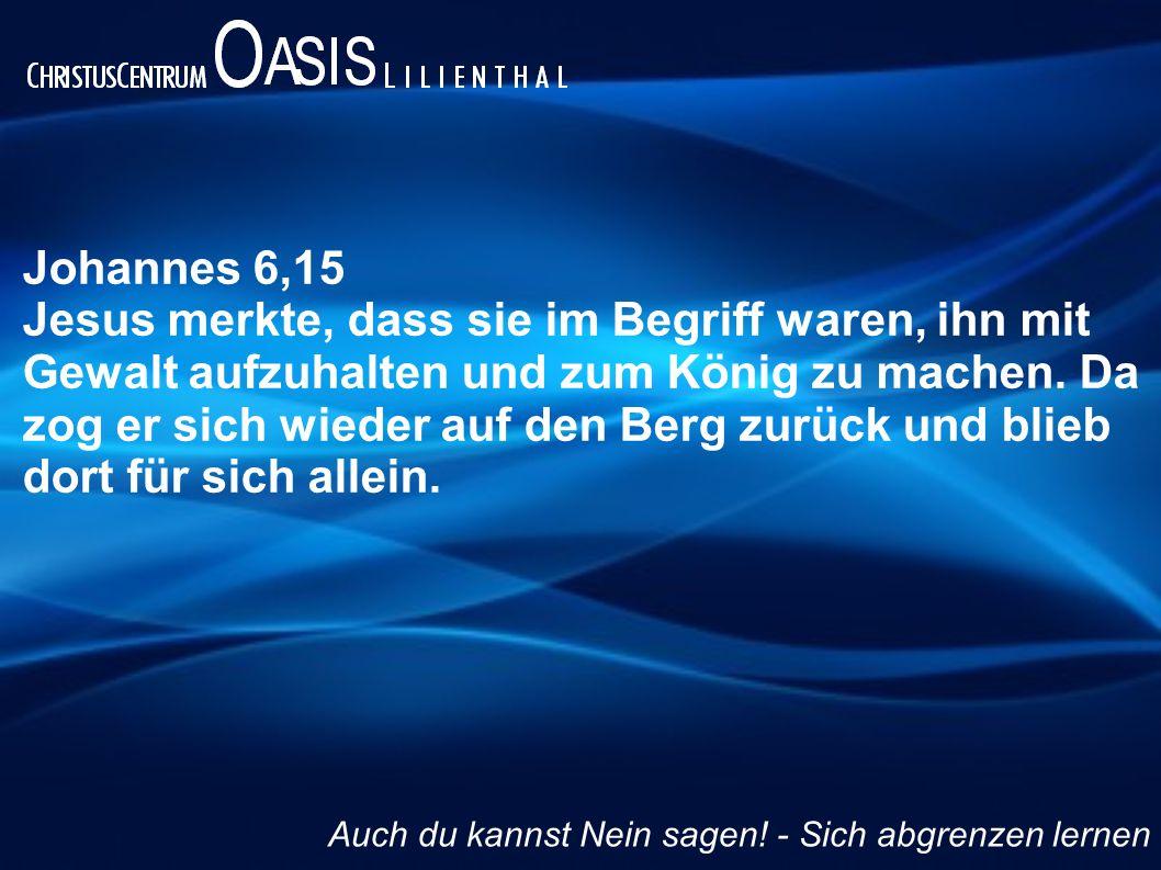 Johannes 6,15 Jesus merkte, dass sie im Begriff waren, ihn mit Gewalt aufzuhalten und zum König zu machen. Da zog er sich wieder auf den Berg zurück u