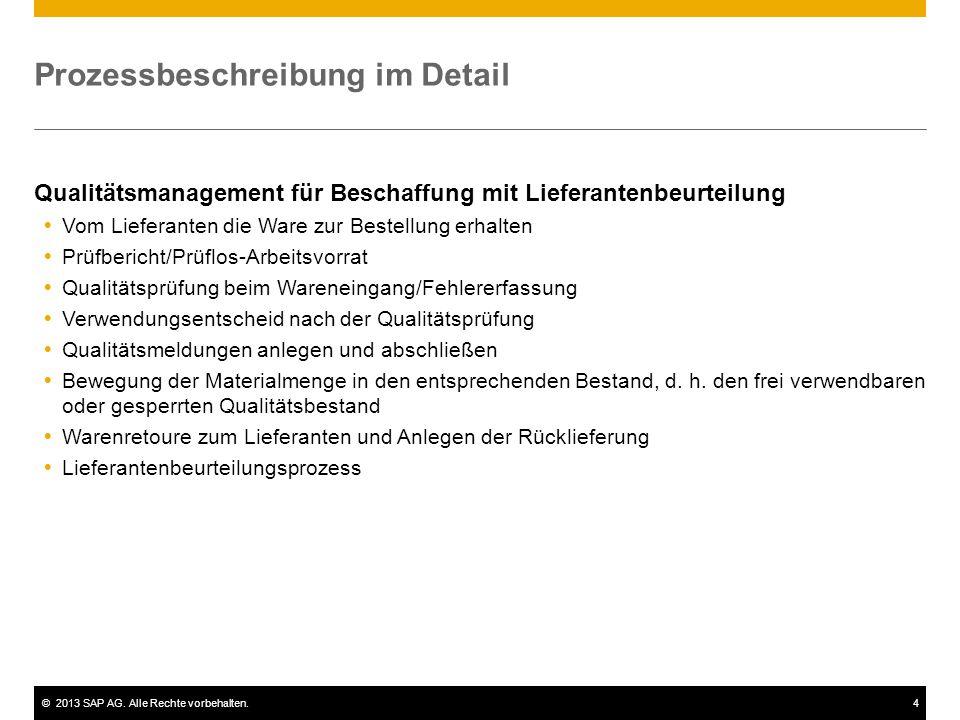 ©2013 SAP AG. Alle Rechte vorbehalten.4 Prozessbeschreibung im Detail Qualitätsmanagement für Beschaffung mit Lieferantenbeurteilung  Vom Lieferanten