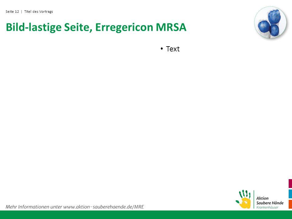 Seite 12 Bild-lastige Seite, Erregericon MRSA Text | Titel des Vortrags