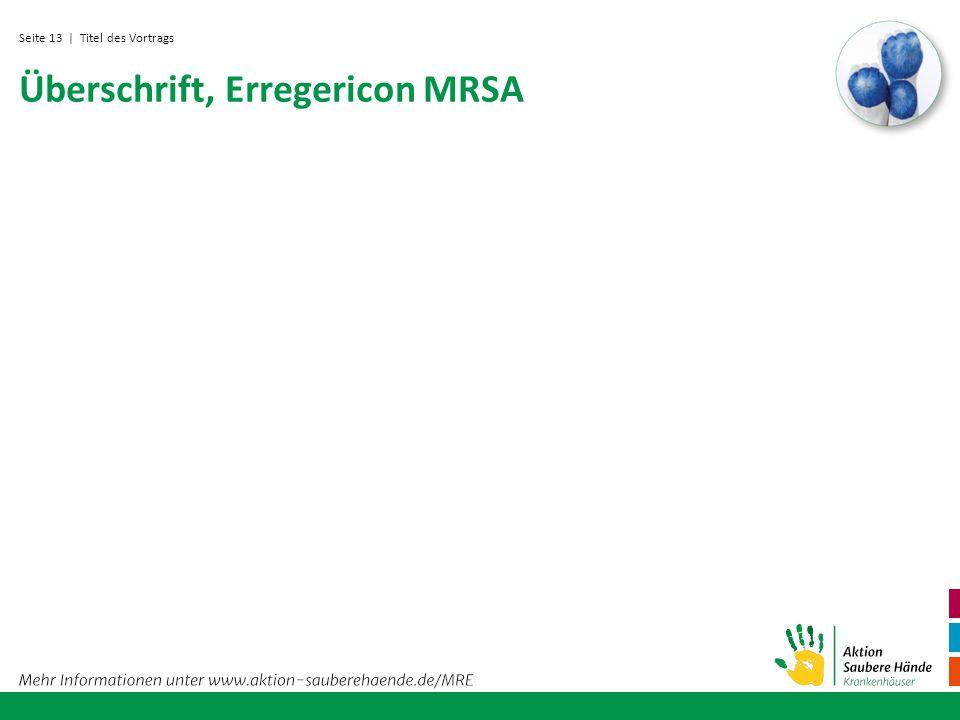 Seite 13 Überschrift, Erregericon MRSA | Titel des Vortrags