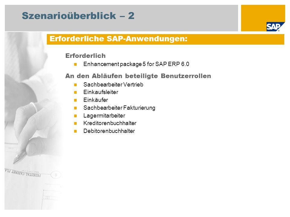 Szenarioüberblick – 2 Erforderlich Enhancement package 5 for SAP ERP 6.0 An den Abläufen beteiligte Benutzerrollen Sachbearbeiter Vertrieb Einkaufslei
