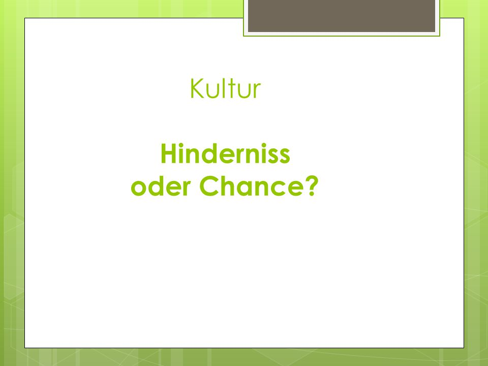 Kultur Hinderniss oder Chance?