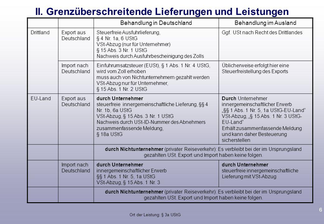 6 II. Grenzüberschreitende Lieferungen und Leistungen Behandlung in DeutschlandBehandlung im Ausland DrittlandExport aus Deutschland Steuerfreie Ausfu