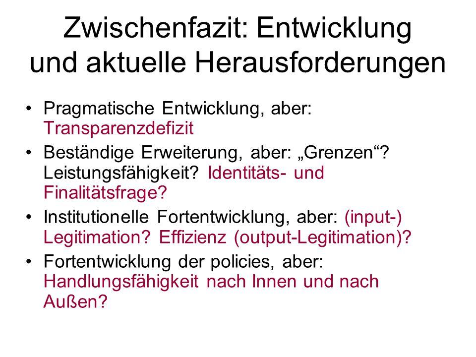 """Zwischenfazit: Entwicklung und aktuelle Herausforderungen Pragmatische Entwicklung, aber: Transparenzdefizit Beständige Erweiterung, aber: """"Grenzen""""?"""