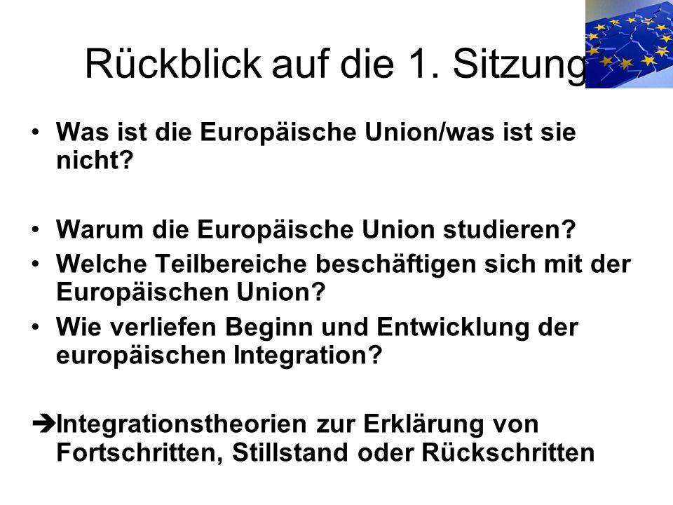 Rückblick auf die 1. Sitzung Was ist die Europäische Union/was ist sie nicht? Warum die Europäische Union studieren? Welche Teilbereiche beschäftigen