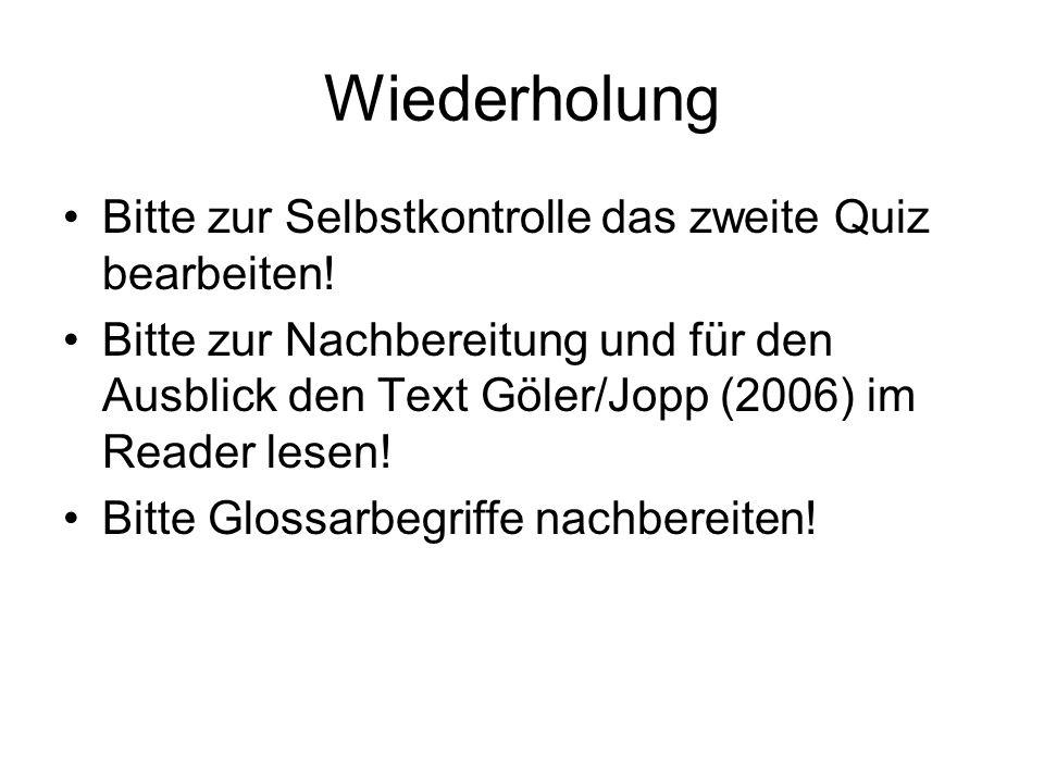 Wiederholung Bitte zur Selbstkontrolle das zweite Quiz bearbeiten! Bitte zur Nachbereitung und für den Ausblick den Text Göler/Jopp (2006) im Reader l
