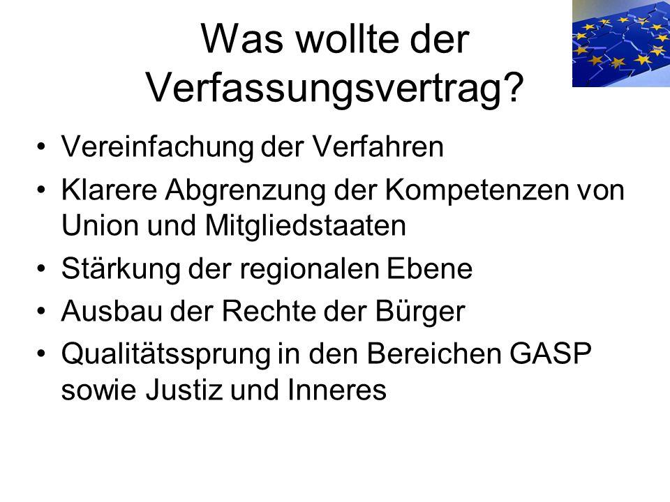 Was wollte der Verfassungsvertrag? Vereinfachung der Verfahren Klarere Abgrenzung der Kompetenzen von Union und Mitgliedstaaten Stärkung der regionale