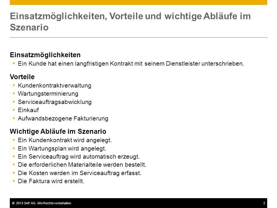 ©2013 SAP AG. Alle Rechte vorbehalten.2 Einsatzmöglichkeiten, Vorteile und wichtige Abläufe im Szenario Einsatzmöglichkeiten  Ein Kunde hat einen lan