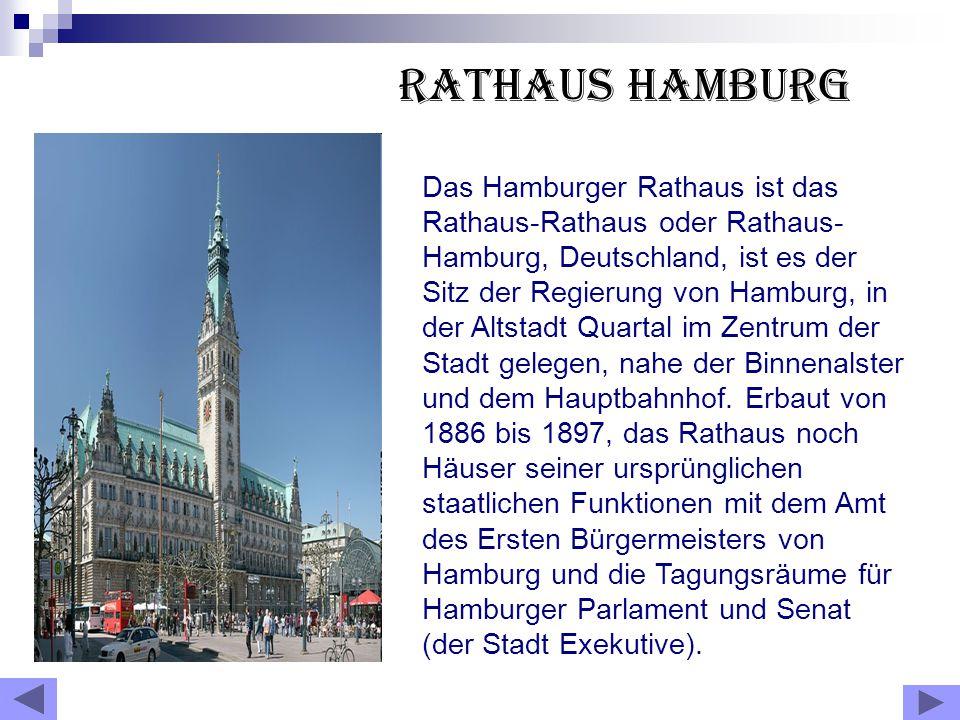 Rathaus Hamburg Das Hamburger Rathaus ist das Rathaus-Rathaus oder Rathaus- Hamburg, Deutschland, ist es der Sitz der Regierung von Hamburg, in der Altstadt Quartal im Zentrum der Stadt gelegen, nahe der Binnenalster und dem Hauptbahnhof.