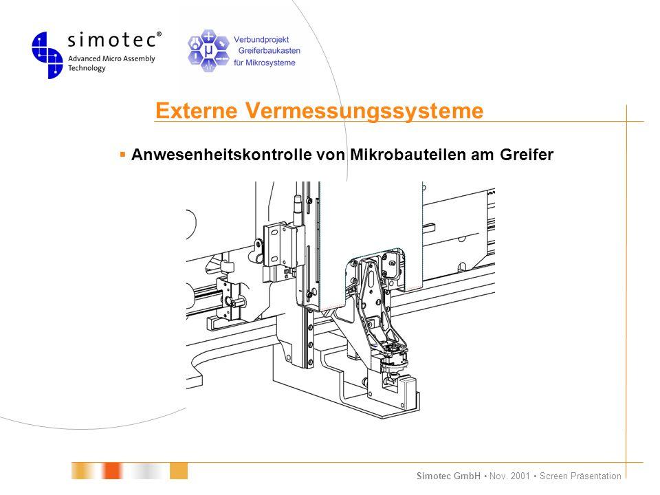 Simotec GmbH Nov. 2001 Screen Präsentation Externe Vermessungssysteme  Anwesenheitskontrolle von Mikrobauteilen am Greifer