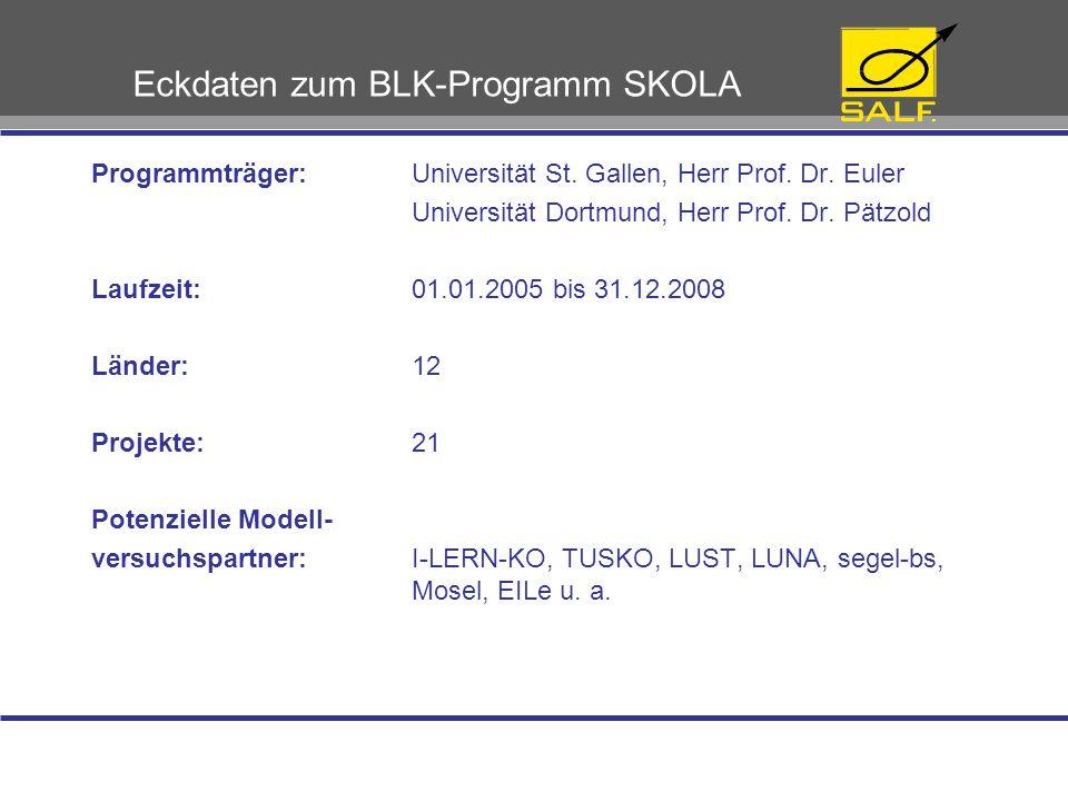 Einordnung in das BLK-Programm SKOLA Maßnahmenbereich 1:  Förderung des selbst gesteuerten Lernens in der beruflichen Erstausbildung Maßnahmenbereich 2:  Förderung des kooperativen Lernens in der beruflichen Erstausbildung