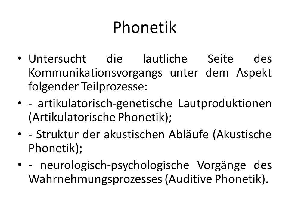 Phonetik Untersucht die lautliche Seite des Kommunikationsvorgangs unter dem Aspekt folgender Teilprozesse: - artikulatorisch-genetische Lautproduktionen (Artikulatorische Phonetik); - Struktur der akustischen Abläufe (Akustische Phonetik); - neurologisch-psychologische Vorgänge des Wahrnehmungsprozesses (Auditive Phonetik).
