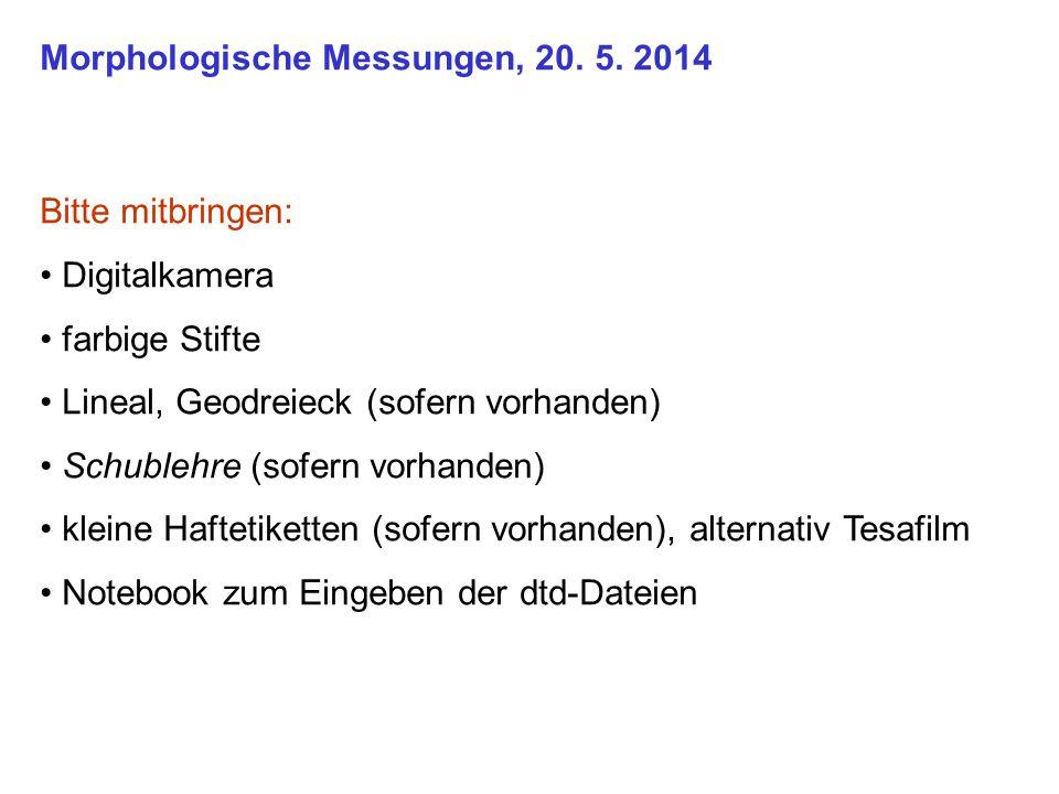 Morphologische Messungen, 20. 5.