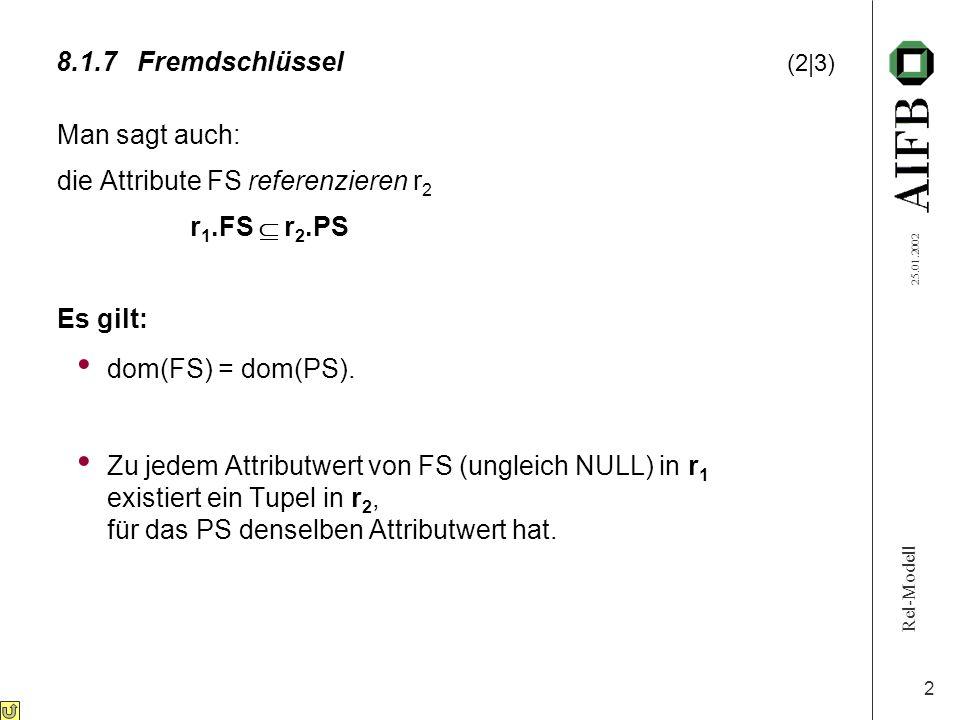 Rel-Modell 25.01.2002 2 8.1.7Fremdschlüssel (2|3) Man sagt auch: die Attribute FS referenzieren r 2 r 1.FS  r 2.PS Es gilt: dom(FS) = dom(PS).