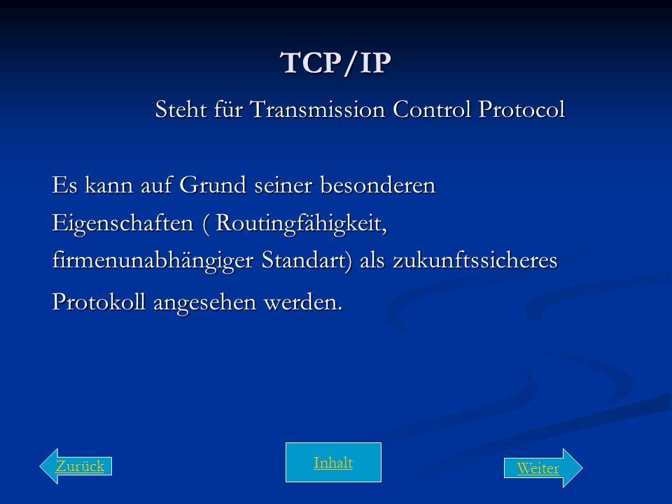 Protokoll (IPX, NetBEUI, TCP/IP) Unter einem Kommunikationsprotokoll versteht man: Vorschriften oder Standards, die es Rechnern ermöglichen Kommunikat