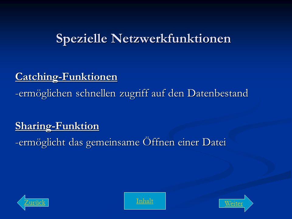 Nutzung des Netzes Data-Sharing -Zugriff mehrerer Benutzer auf den gleichen Datenbestand Software-Sharing -ermöglicht die gemeinsame Nutzung zentral i