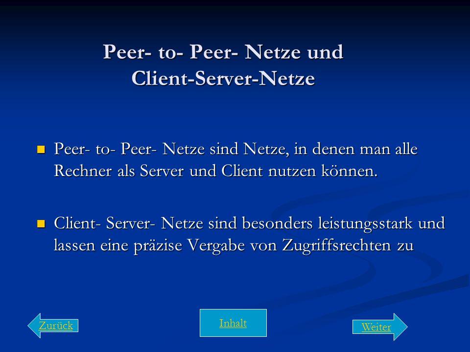 Arten von Netzen  Server sind Rechner die ihre Dienste zur Verfügung stellen sind Rechner die ihre Dienste zur Verfügung stellen  Clients sind Rechn