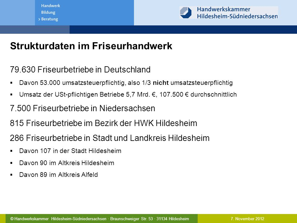 7. November 2012© Handwerkskammer Hildesheim-Südniedersachsen · Braunschweiger Str. 53 · 31134 Hildesheim Strukturdaten im Friseurhandwerk 79.630 Fris