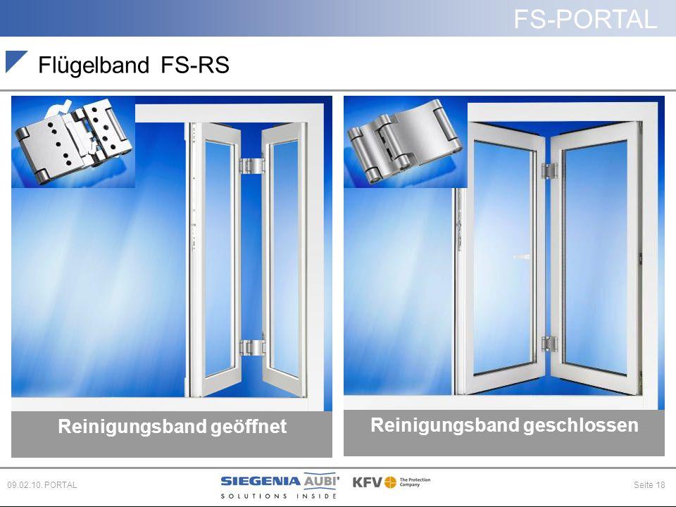 FS-PORTAL Seite 1809.02.10. PORTAL Flügelband FS-RS Reinigungsband geöffnet Reinigungsband geschlossen